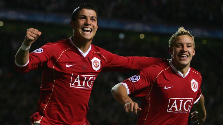 Cristiano Ronaldo scored twice as Manchester United thrashed Roma 7-1 to reach the semi-finals of the Champions League in 2007