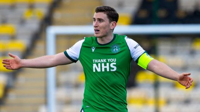 LIVINGSTON, SCOTLAND - MARCH 20:  Hibs Paul Hanlon during the Scottish Premiership match between Livingston and Hibernian at the Tony Macaroni Arena on March 20, 2021, in Livingston, Scotland.  (Photo by Alan Harvey / SNS Group)