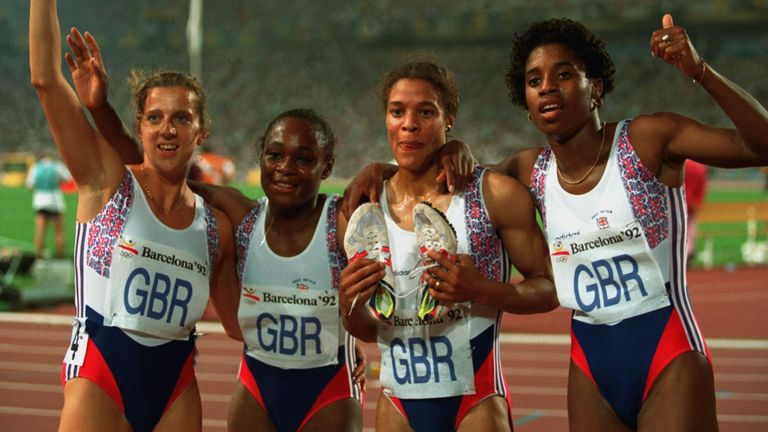 Stoute (far right) won 4x400m gold at the 1992 Barcelona Olympics