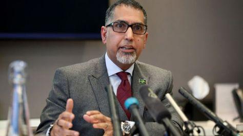 Sanjay Bhandari during the press conference at Pinsent Masons, London.