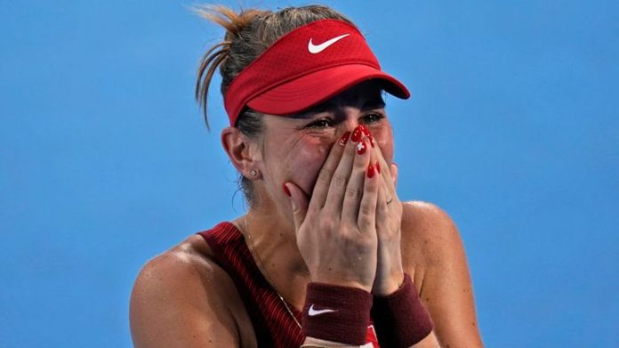 An emotional Belinda Bencic reacts after booking her place in the women's singles final