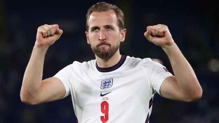 England's Harry Kane celebrates after the UEFA Euro 2020 Quarter Final match at the Stadio Olimpico, Rome. Picture date: Saturday July 3, 2021.