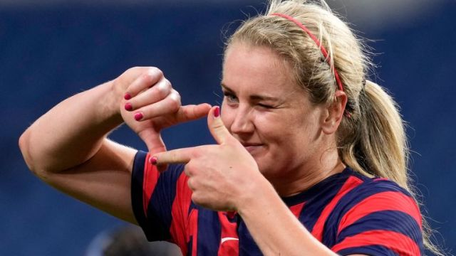 Lindsey Horan scored on her 100th cap for the USA