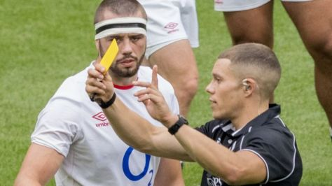 Lewis Ludlow was sin-binned by referee Craig Evans in England's win over Canada