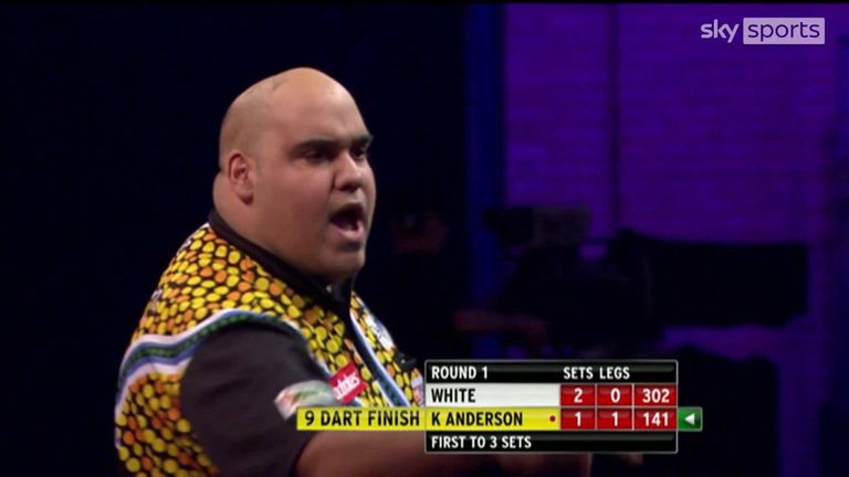 Watch Kyle Anderson's nine-darter against Ian White at the 2014 World Darts Championship at Alexandra Palace