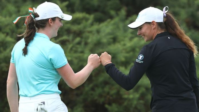 Lauren Walsh and Caley McGinty won their foursomes match for Team GB&Ire on the opening day of the Curtis Cup