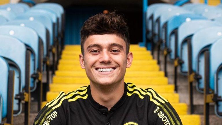 Dan James poses at Elland Road after becoming a Leeds player