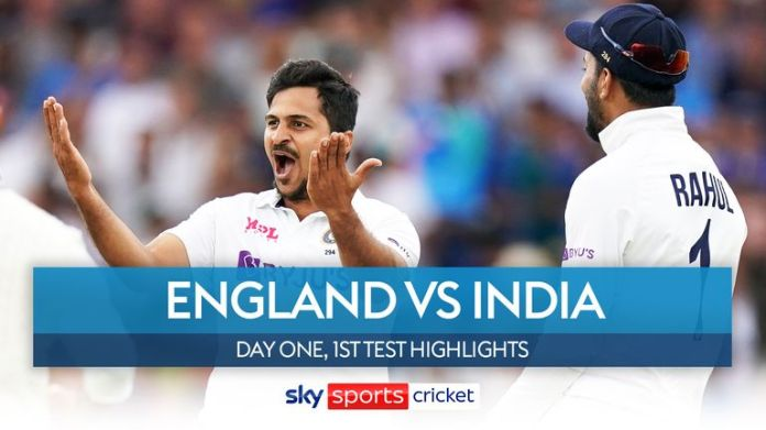 Highlights of the opening day of the first Test between England and India at Trent Bridge