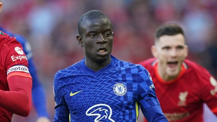 Jordan Henderson and N'Golo Kante in Premier League action at Anfield