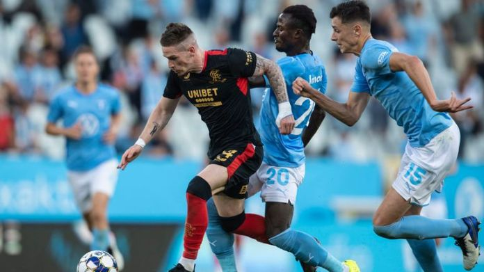MALMO, SWEDEN - AUGUST 03: Rangers' Ryan Kent (left) ic challenged by Bonke Innocent during a Champions League qualifier between Malmo and Rangers at the Eleda Stadion, on August 03, 2021, in Malmo, Sweden. (Photo by Christoffer Borg Mattisson / SNS Group)