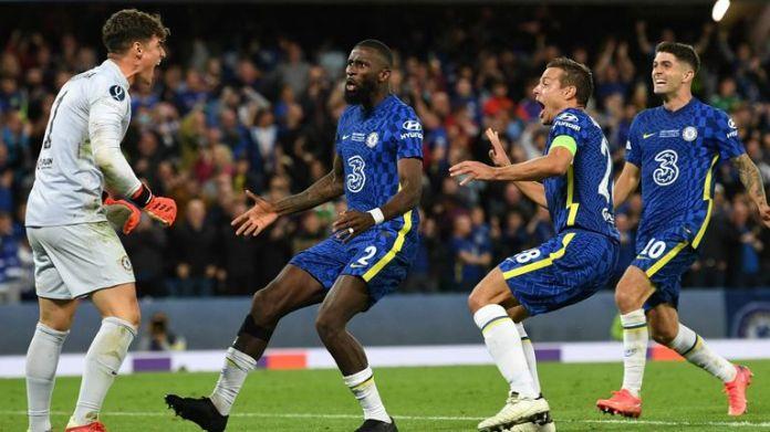 Kepa Arrizabalaga celebrates his penalty save that won Chelsea the Super Cup