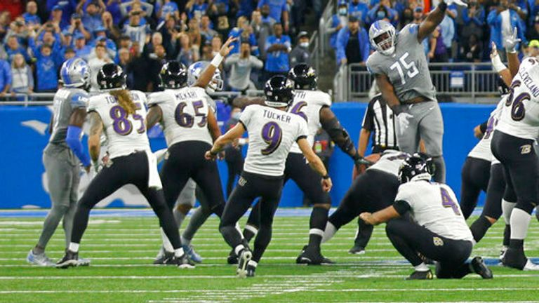 Watch Justin Tucker score an NFL record from a 66-yard field goal as the Ravens beat the Lions