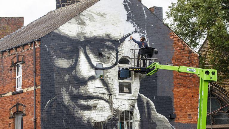 A mural Marcelo Bielsa near Hyde Park in Leeds