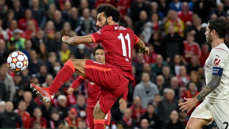 Mohamed Salah scores Liverpool's second goal against AC Milan