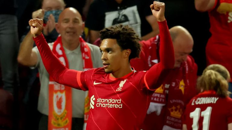Trent Alexander-Arnold celebrates after putting Liverpool 1-0 ahead