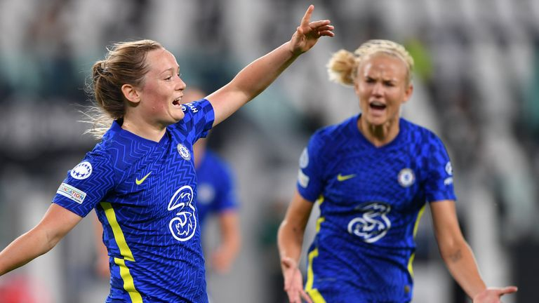 Erin Cuthbert celebrates with Pernille Harder after scoring Chelsea Women's first goal vs Juventus