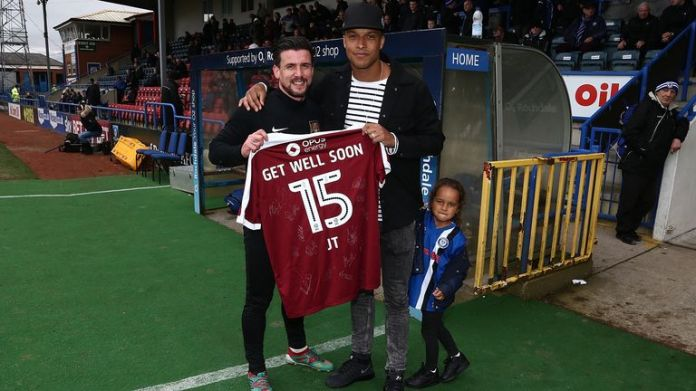 Joe Thompson during the Sky Bet League One match between Rochdale and Northampton Town at Spotland Stadium on April 1, 2017 in Rochdale, England.
