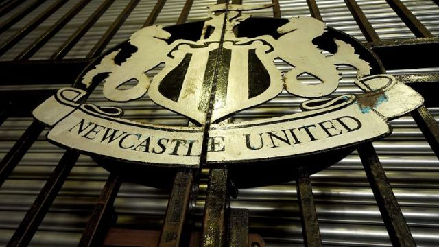 A general view of the Newcastle United sign outside St James' Park, home of Newcastle United Football Club