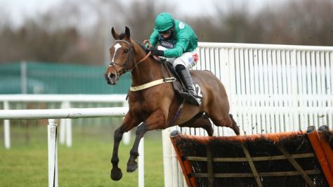 The cob on the way to victory in the Don Novizi river obstacle in Doncaster