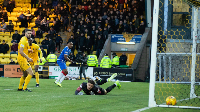 Alfredo Morelos runs to celebrate his goal against Livingston.