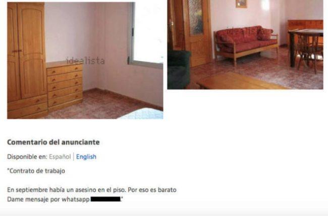 Anuncio alquiler apartamento
