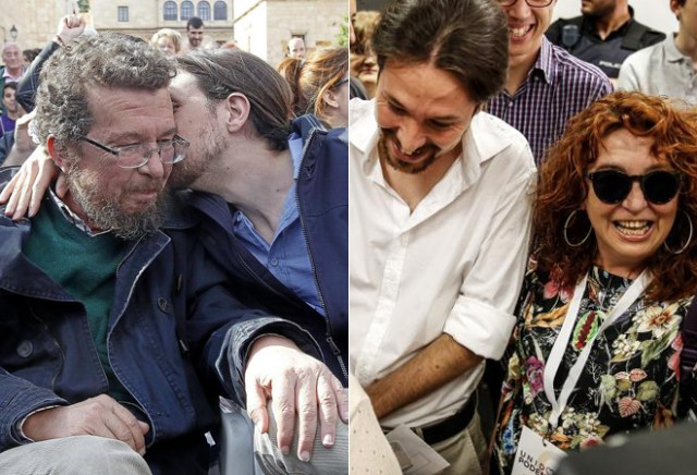 Pablo Iglesias, junto a su padre (izquierda) y junto a su madre...