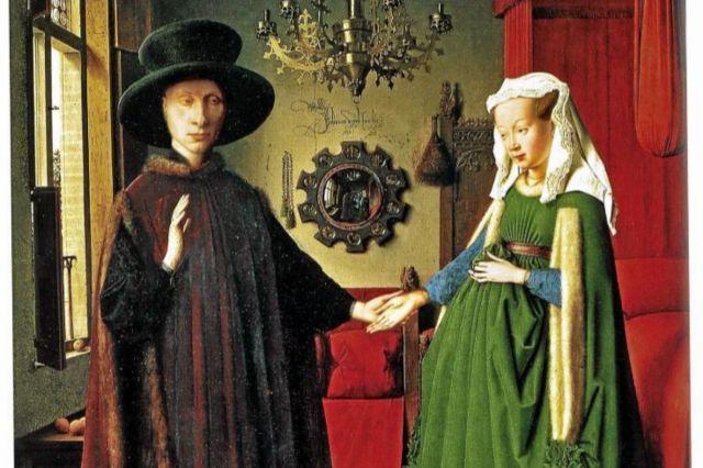 Detalle de 'El matrimonio Arnolfini', de Van Eyck.