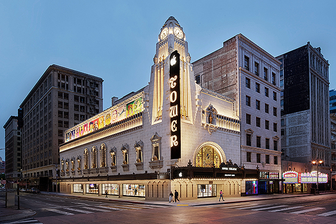 Restored facade of the Tower Theater in Los