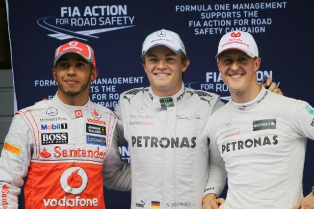 Hamilton, Rosberg y Schumacher, en el GP de China de 2012.