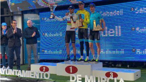 Luis León Sánchez, Alejandro Valverde y Pello Bilbao, en el podio