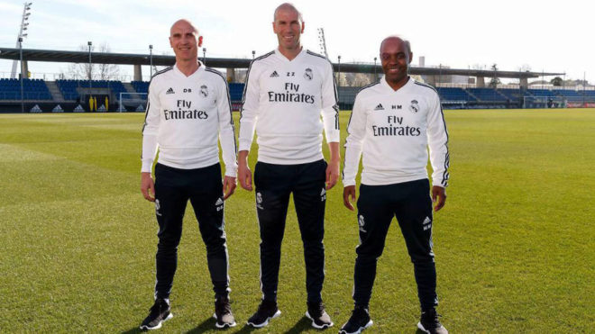 Zinedine Zidane posing at Valdebebas alongside his assistants