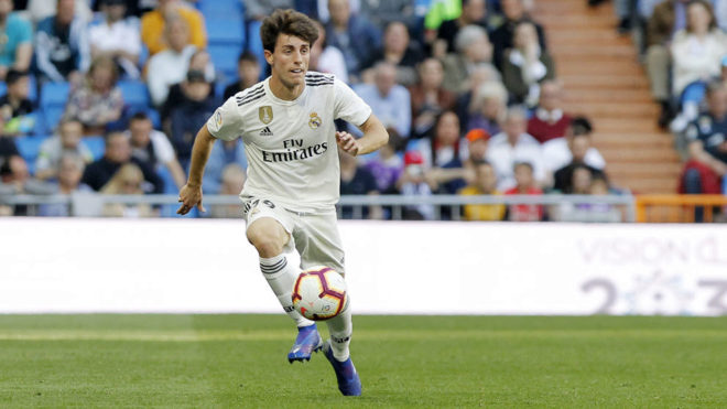 Odriozola during the match against Celta.