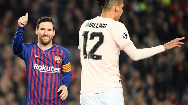 Leo Messi celebrating one of his goals against United.