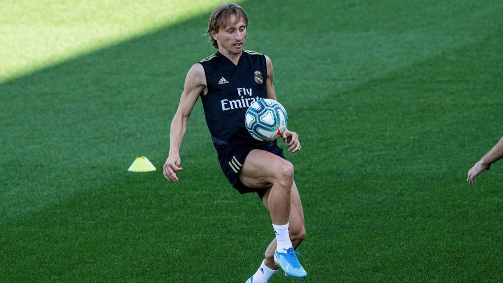 Luka Modric during a training session with Real Madrid.