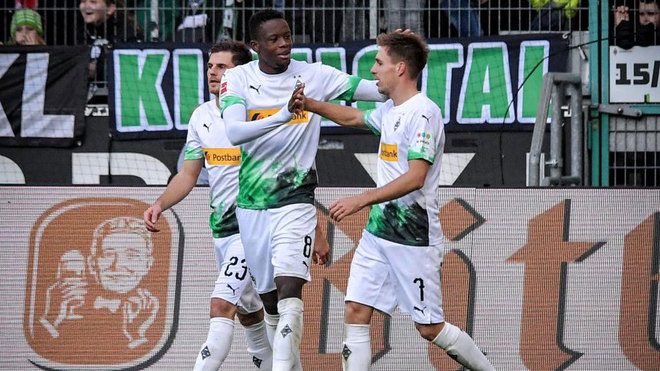 Herrmann celebrates his third goal.