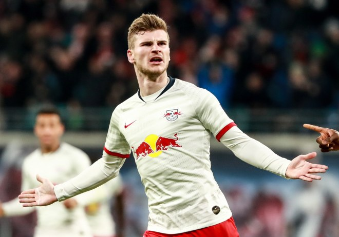 Leipzig (Germany), 18/01/2020.- Leipzigs Timo <HIT>Werner</HIT> celebrates after scoring the 1-1 during the German Bundesliga soccer match between RB Leipzig and FC Union Berlin in Leipzig, Germany, 18 January 2020. (Alemania) EFE/EPA/HAYOUNG JEON CONDITIONS - ATTENTION: The DFL regulations prohibit any use of photographs as image sequences and/or quasi-video