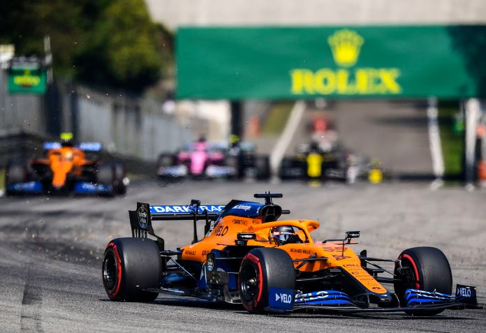 Monza (Italy), 06/09/2020.- Spanish Formula One driver Carlos lt;HIT gt;Sainz lt;/HIT gt; of McLaren in action during of the Formula One Grand Prix of Italy at the Monza race track, Monza, Italy 06 September 2020. (Fórmula Uno, Italia) EFE/EPA/Miguel Medina / Pool