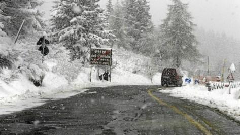 La nieve cae en el Passo del Tonale el día de la cancelación de la...