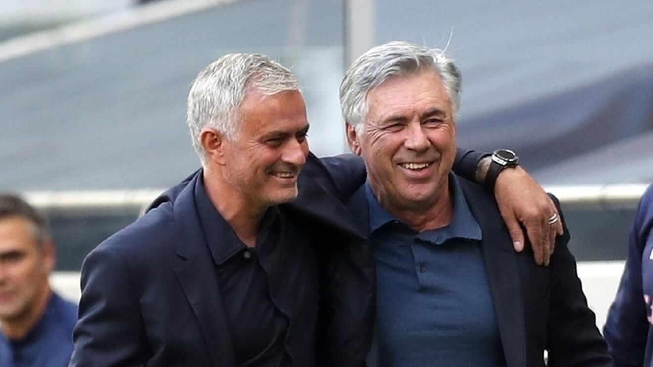 Jose Mourinho and Carlo Ancelotti when Tottenham and Everton met in the Premier League earlier this season