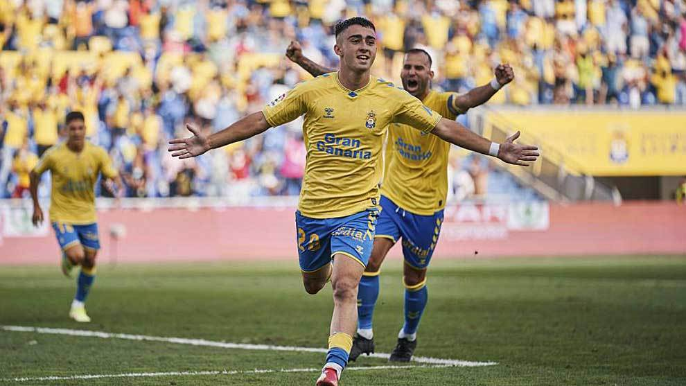 Moleiro celebrates the goal against Ibiza on Saturday with which he rescued a point for UD