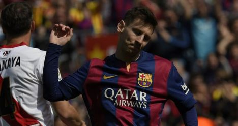 Lionel Messi: Celebrates after scoring against Rayo Vallecano
