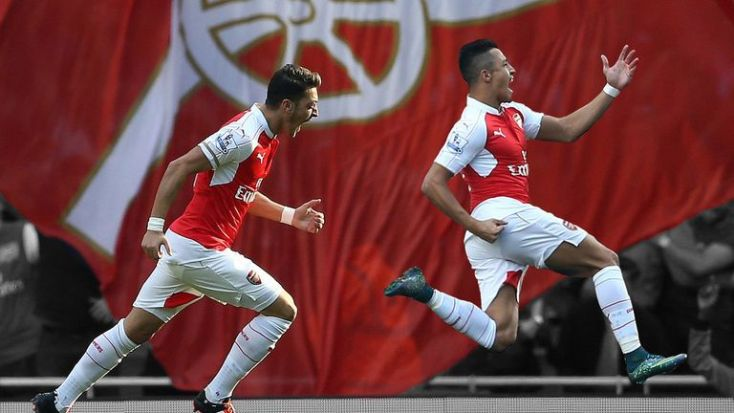 Sanchez (right) has scored 10 goals in all competitions this season including seven for Arsenal