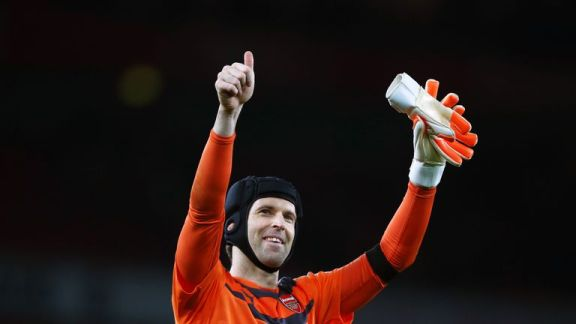 Petr Cech of Arsenal applauds the fans after his team's 2-0 win over Bournemouth