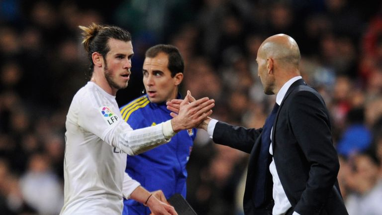 Hat-trick hero Bale is congratulated by new boss Zinedine Zidane