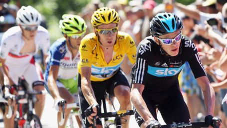 Chris Froome and Bradley Wiggins (yellow jersey) are among five British athletes to have their medical data leaked
