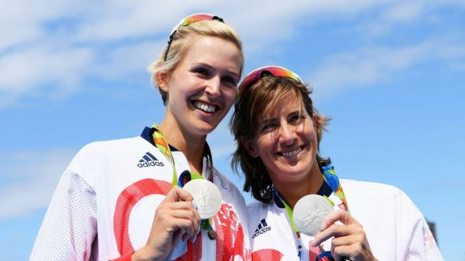 Katherine Grainger (R) won silver alongside Vicky Thornley in Rio, her fifth Olympic medal