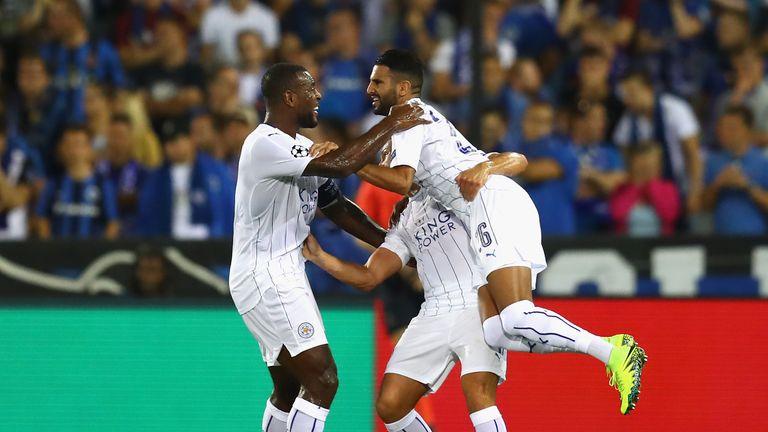 Riyad Mahrez scored twice as Leicester beat Club Brugge on Wednesday