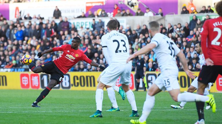 Manchester United's Paul Pogba volleys home their opener against Swansea