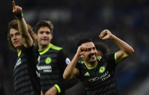 Pedro celebrates after netting Chelsea's third goal