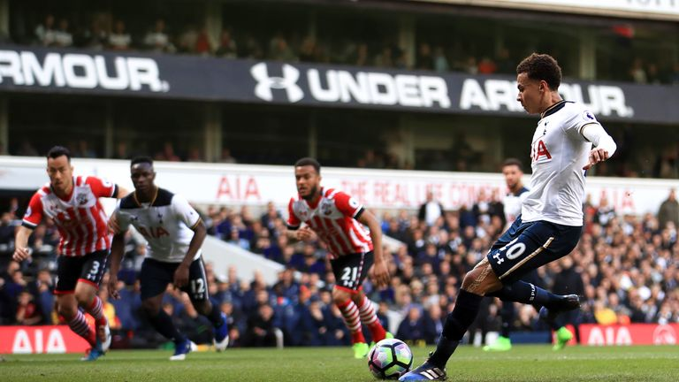 Dele Alli scores Tottenham's second goal from the penalty spot